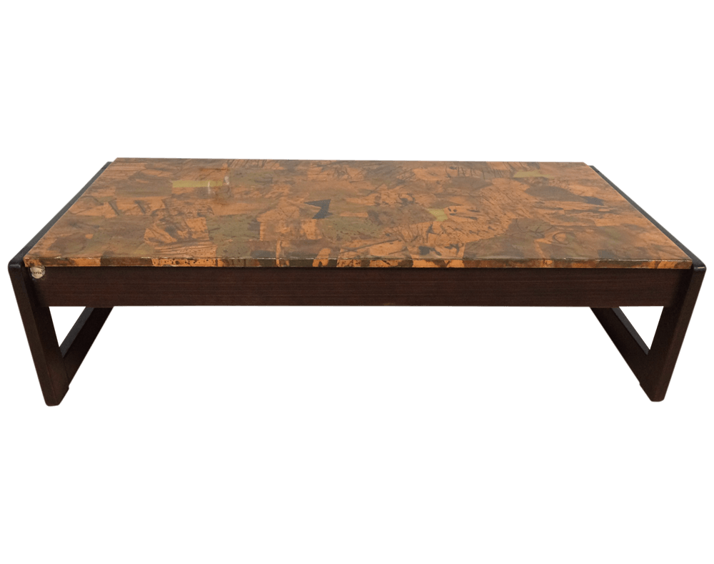 Percival Lafer Copper And Rosewood Coffee Table   Mixed Modern Furniture    Mid Century Furniture Dealer