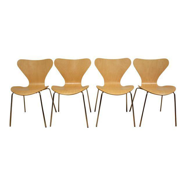 Arne Jacobsen Style Birch Dining Chairs Set Of 4 Mixed Modern Furniture Mid Century Dealer
