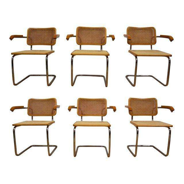 Marcel Breuer Mid Century Cesca Dining Chairs Set Of 6