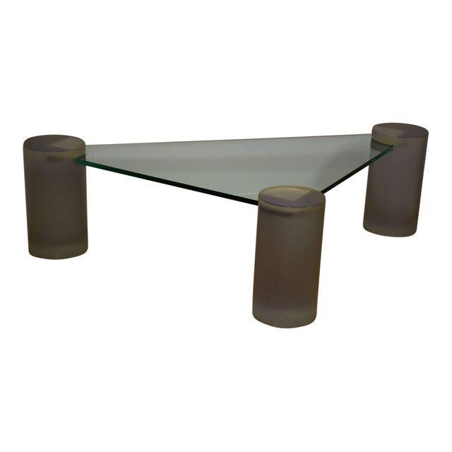 Glass And Lucite Triangle Coffee Table Mixed Modern Furniture - Mid century triangle coffee table