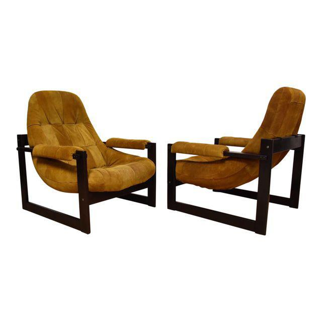 Percival Lafer Suede Leather Lounge Chairs   A Pair   Mixed Modern  Furniture | Mid Century Furniture Dealer