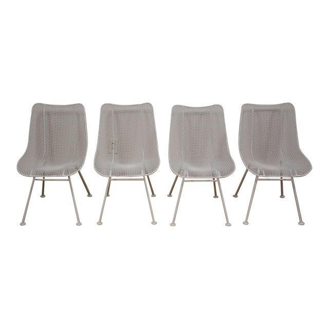 Rus Woodard Sculptura White Patio Dining Chairs Set Of 4 Mixed Modern Furniture Mid Century Dealer