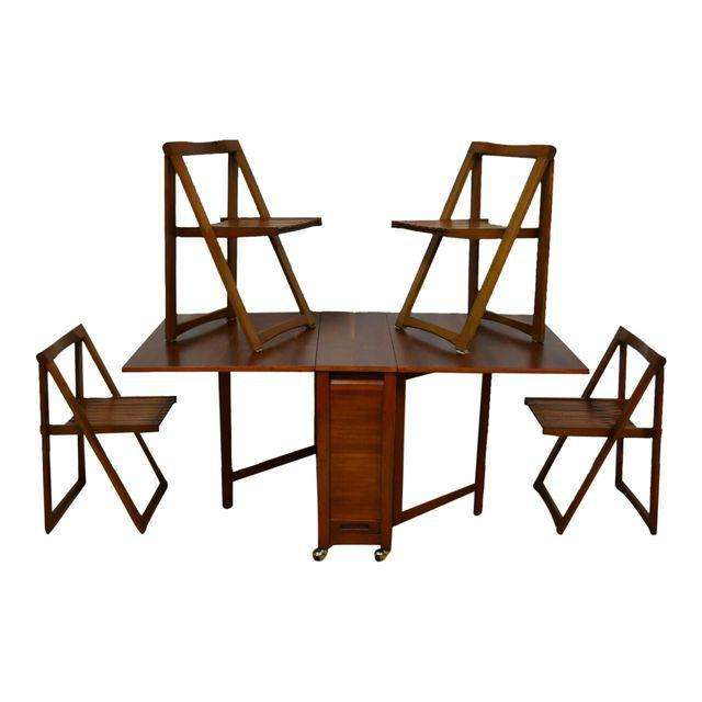 Walnut Dining Table And Self Storing Chairs Set Of 5