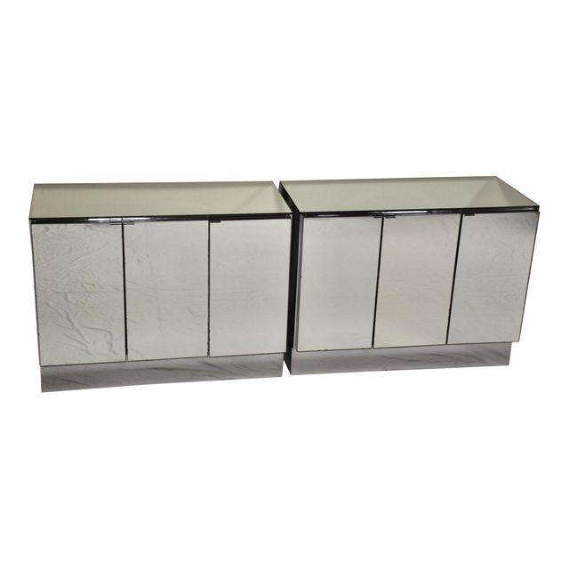 Ello Chrome And Mirrored Chests Credenza   A Pair   Mixed Modern Furniture  | Mid Century Furniture Dealer