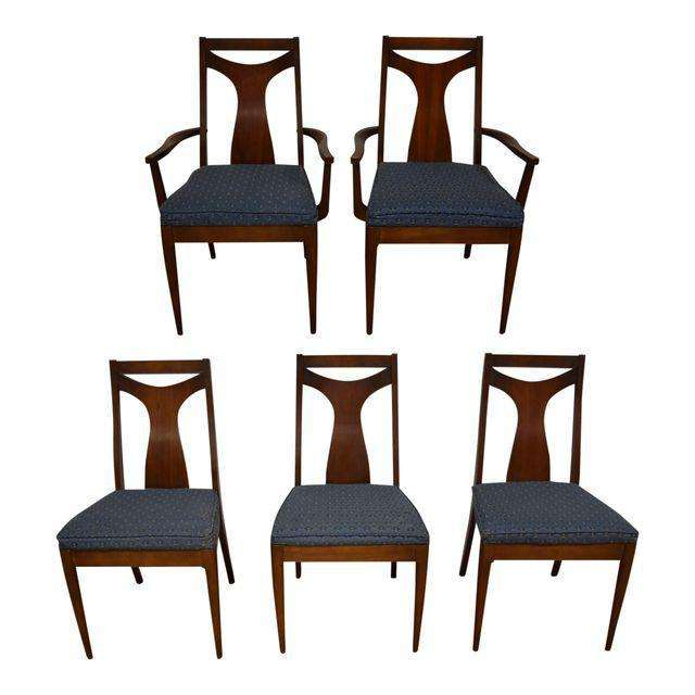 Kent coffey perspecta walnut dining chairs set of