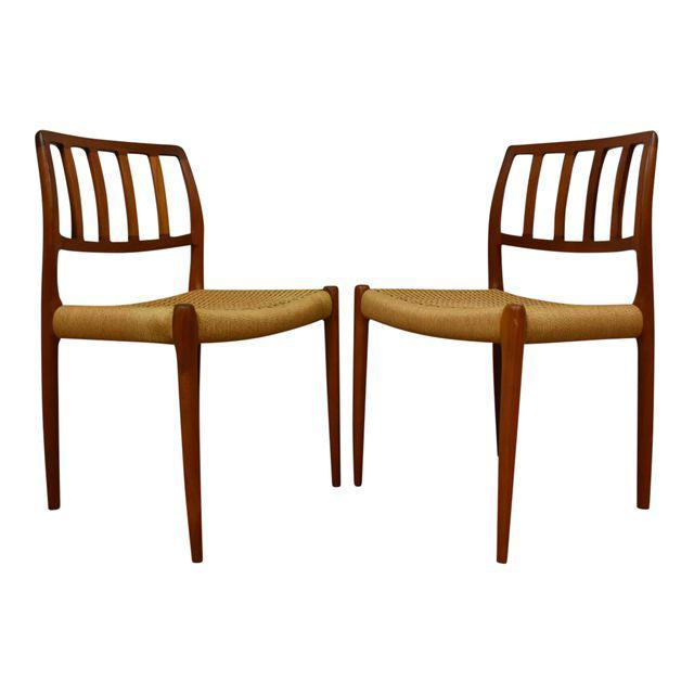 Niels O. Møller Model 83 Danish Teak Dining Chairs   A Pair   Mixed Modern  Furniture | Mid Century Furniture Dealer
