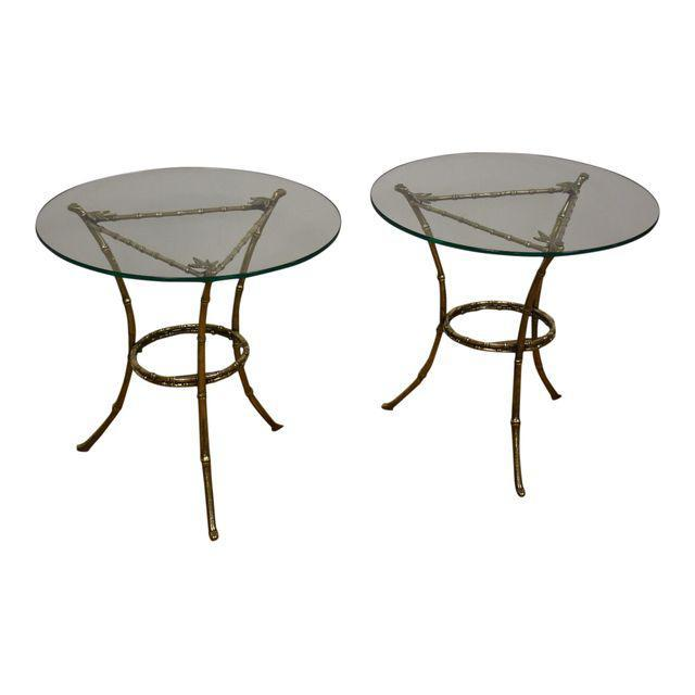 Faux Bamboo Glass And Brass End Tables A Pair Mixed Modern