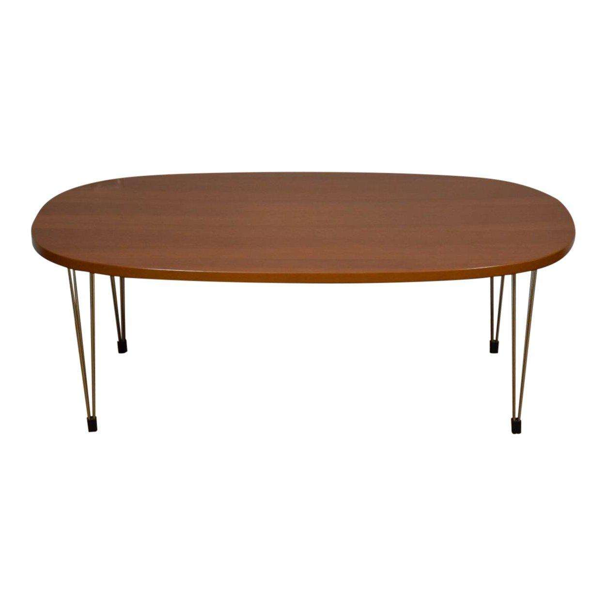 Cherry And Chrome Oval Coffee Table Mixed Modern Furniture Mid Century Dealer