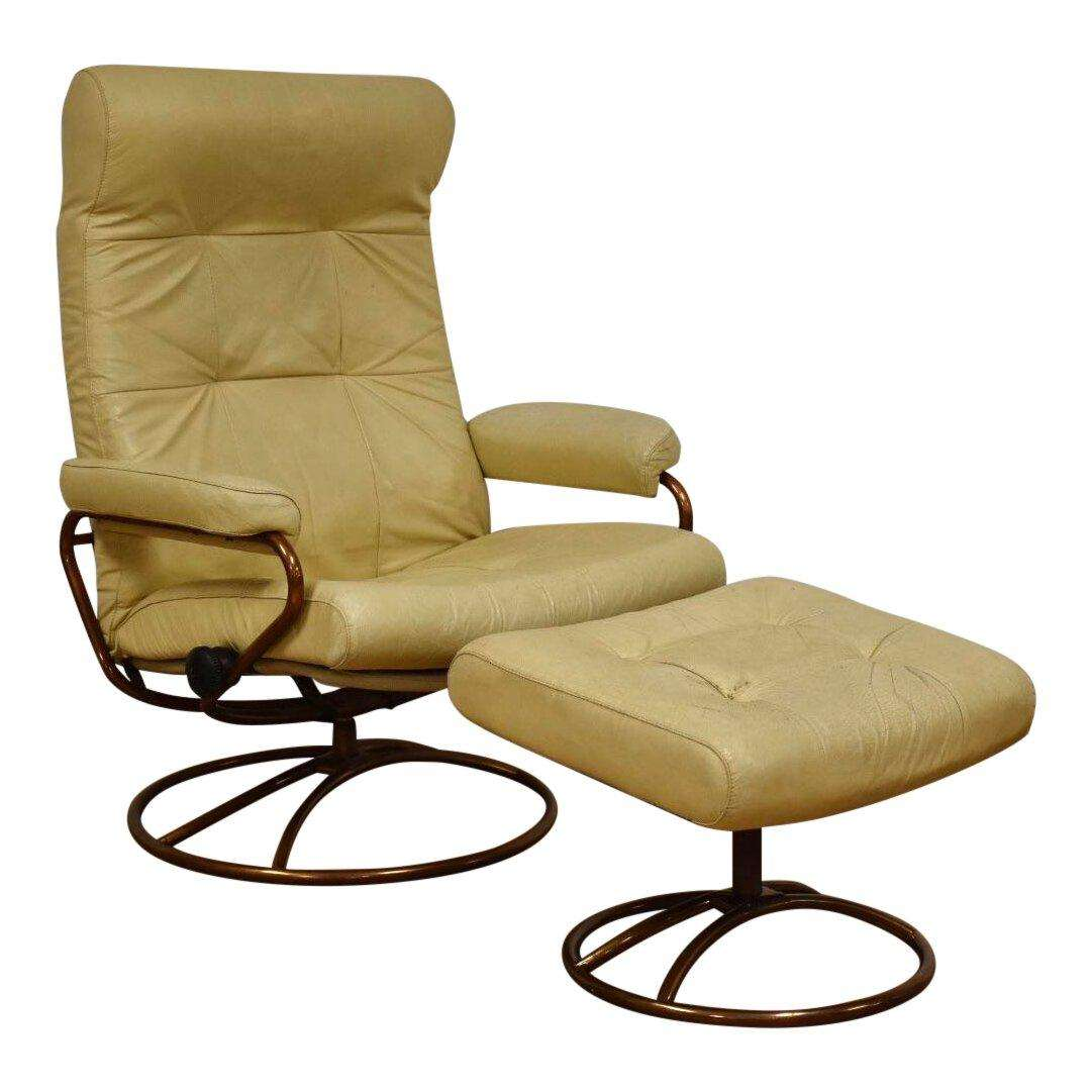 beige leather ekornes lounge chair and ottoman mixed modern