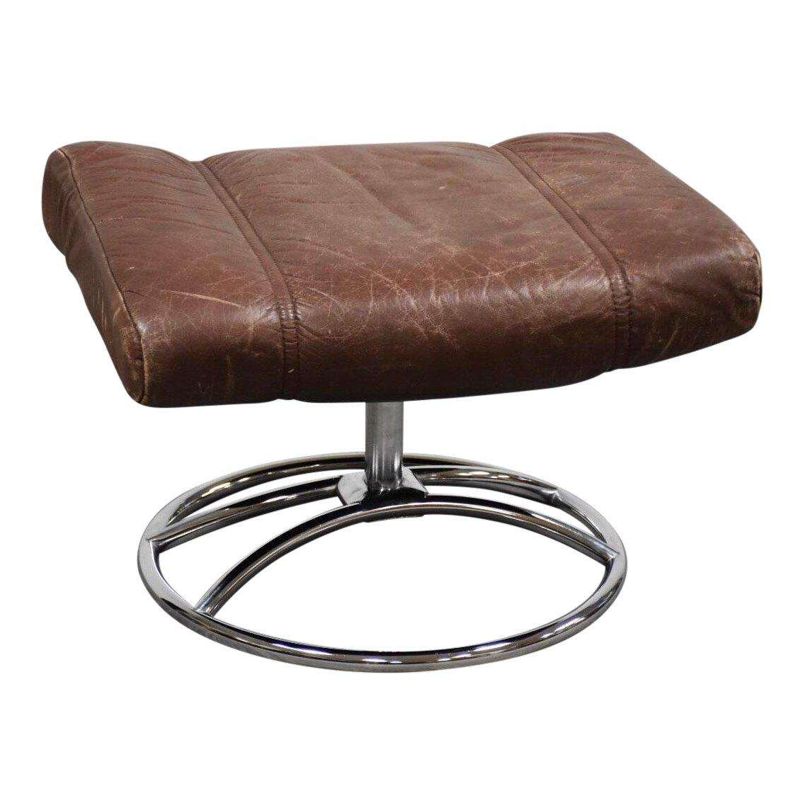 1970s Vintage Ekornes Brown Leather And Chrome Ottoman