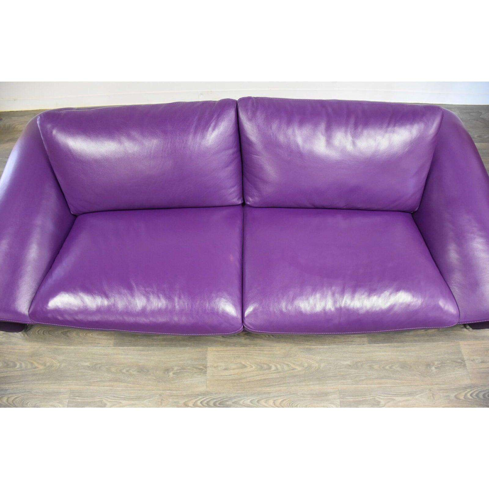 Remarkable Chateau Dax Italian Modern Purple Leather Sofa Theyellowbook Wood Chair Design Ideas Theyellowbookinfo