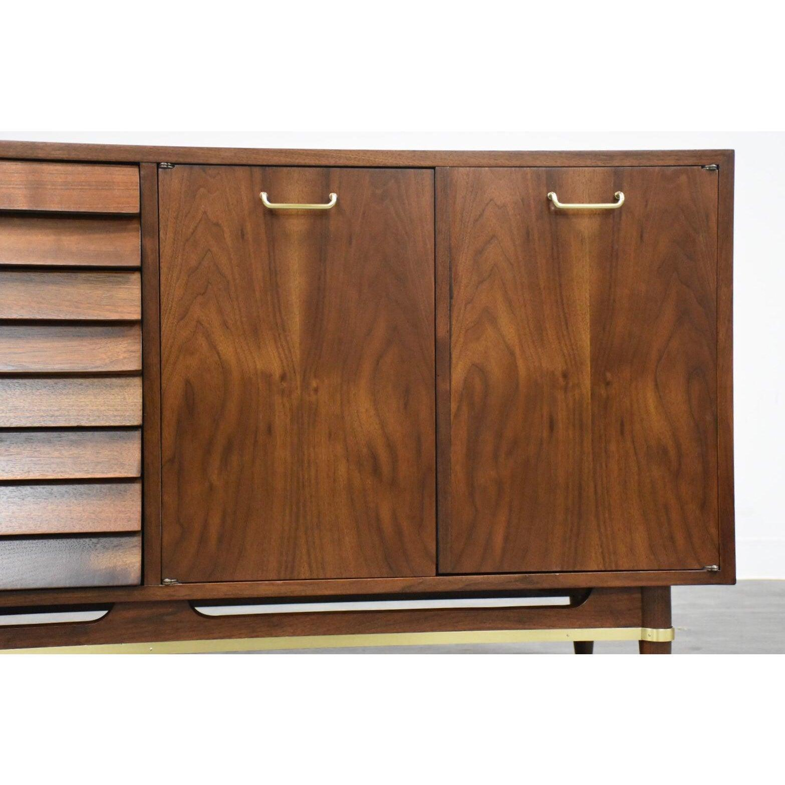 Aiken Complete Furniture American Of Martinsville: American Of Martinsville Walnut Credenza Dresser Mid