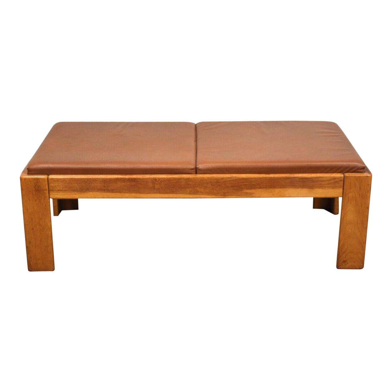 Wondrous Modern Oak And Brown Leather Bench By Knoll Machost Co Dining Chair Design Ideas Machostcouk