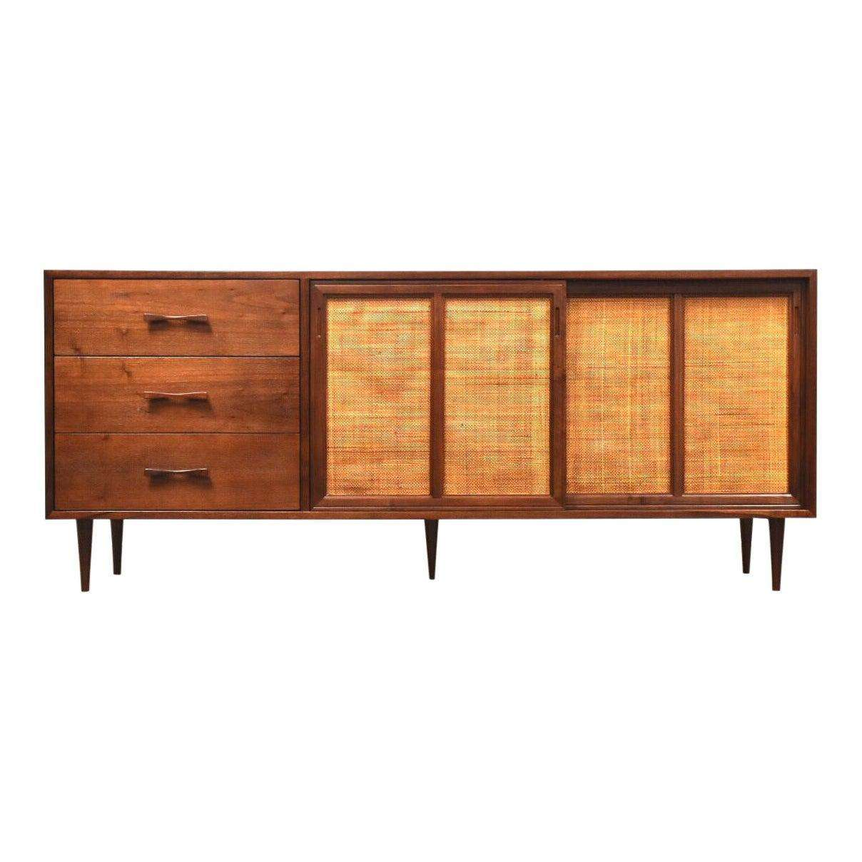 Walnut Cane Tv Console Credenza Mid Century Modern Mixed Modern Furniture Mid Century Furniture Dealer
